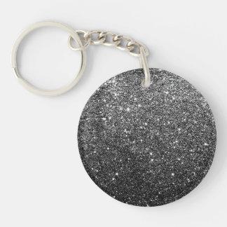 Elegant Faux Black Glitter Double-Sided Round Acrylic Keychain