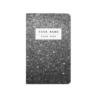 Elegant Faux Black Glitter Journal