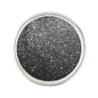 Elegant Faux Black Glitter Lapel Pin
