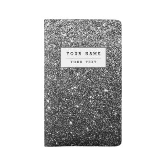 Elegant Faux Black Glitter Large Moleskine Notebook