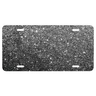 Elegant Faux Black Glitter License Plate