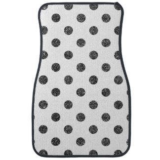 Elegant Faux Black Glitter Polka Dots Pattern Auto Mat