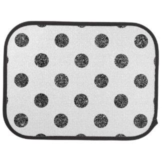 Elegant Faux Black Glitter Polka Dots Pattern Car Mat