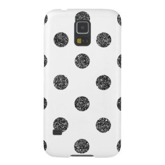 Elegant Faux Black Glitter Polka Dots Pattern Case For Galaxy S5