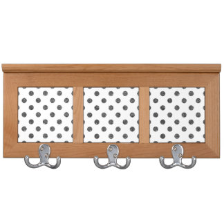 Elegant Faux Black Glitter Polka Dots Pattern Coat Rack
