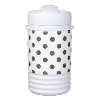 Elegant Faux Black Glitter Polka Dots Pattern Cooler
