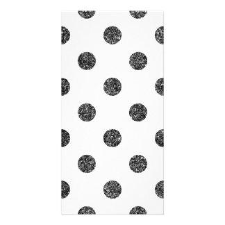 Elegant Faux Black Glitter Polka Dots Pattern Customized Photo Card