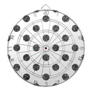 Elegant Faux Black Glitter Polka Dots Pattern Dartboard