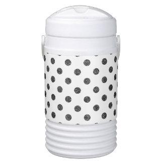 Elegant Faux Black Glitter Polka Dots Pattern Drinks Cooler