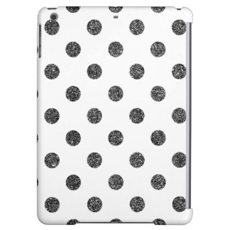 Elegant Faux Black Glitter Polka Dots Pattern iPad Air Cases