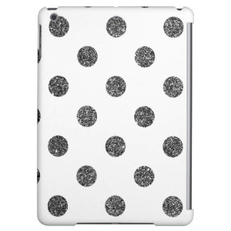 Elegant Faux Black Glitter Polka Dots Pattern iPad Air Cover