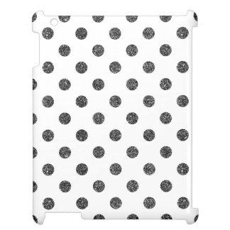 Elegant Faux Black Glitter Polka Dots Pattern iPad Case