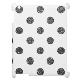 Elegant Faux Black Glitter Polka Dots Pattern iPad Cases