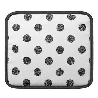 Elegant Faux Black Glitter Polka Dots Pattern iPad Sleeve