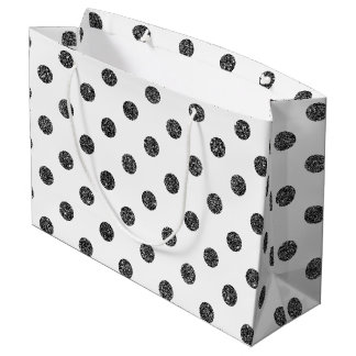 Elegant Faux Black Glitter Polka Dots Pattern Large Gift Bag
