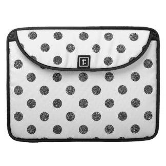 Elegant Faux Black Glitter Polka Dots Pattern MacBook Pro Sleeve