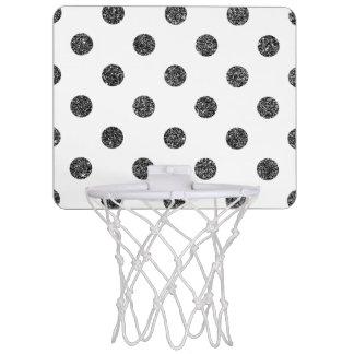 Elegant Faux Black Glitter Polka Dots Pattern Mini Basketball Hoop
