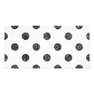 Elegant Faux Black Glitter Polka Dots Pattern Photo Card