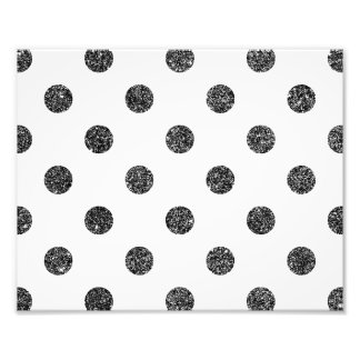 Elegant Faux Black Glitter Polka Dots Pattern Photographic Print