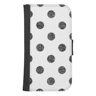 Elegant Faux Black Glitter Polka Dots Pattern Samsung S4 Wallet Case