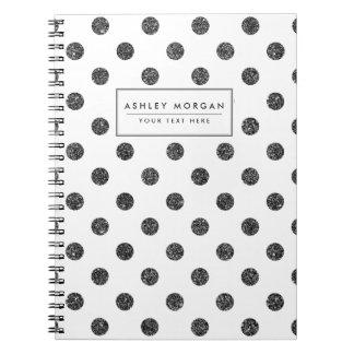 Elegant Faux Black Glitter Polka Dots Pattern Spiral Note Books
