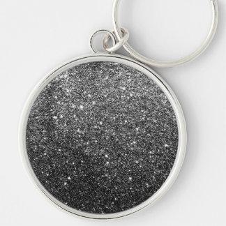 Elegant Faux Black Glitter Silver-Colored Round Keychain