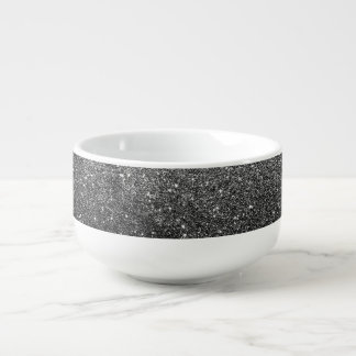 Elegant Faux Black Glitter Soup Bowl With Handle