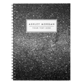 Elegant Faux Black Glitter Spiral Notebook