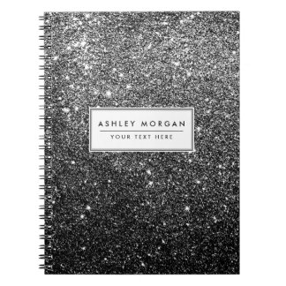 Elegant Faux Black Glitter Spiral Notebooks