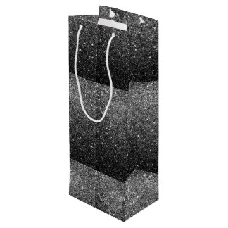 Elegant Faux Black Glitter Wine Gift Bag