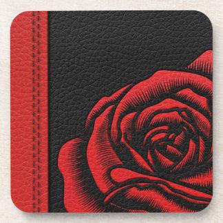 Elegant Faux Black Red Leather Rose Coaster