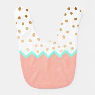 elegant faux cute gold polka dots mint and pink bib