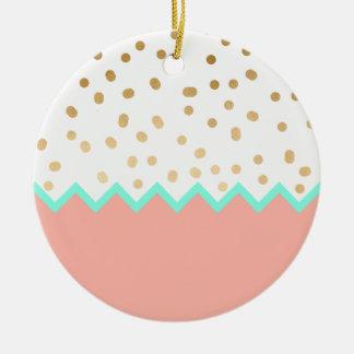 elegant faux cute gold polka dots mint and pink ceramic ornament