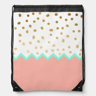 elegant faux cute gold polka dots mint and pink drawstring bag