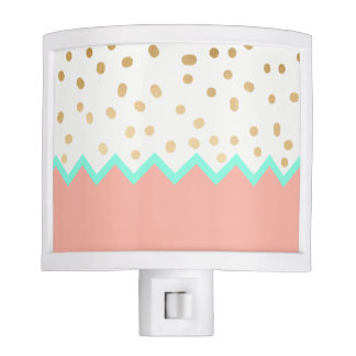 elegant faux cute gold polka dots mint and pink nite light