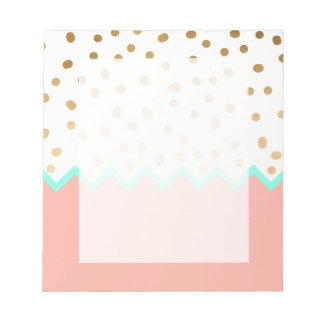 elegant faux cute gold polka dots mint and pink notepad