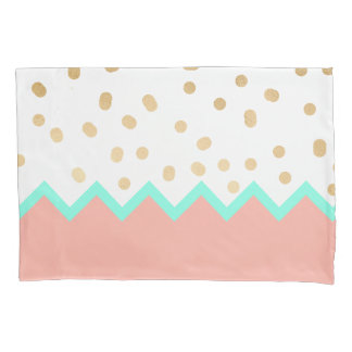 elegant faux cute gold polka dots mint and pink pillowcase
