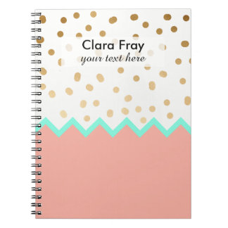 elegant faux cute gold polka dots mint and pink spiral notebook