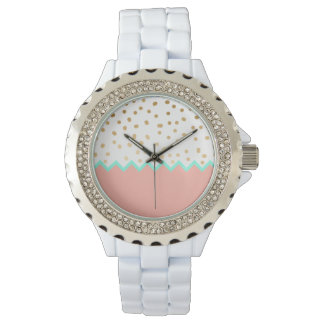 elegant faux cute gold polka dots mint and pink watch