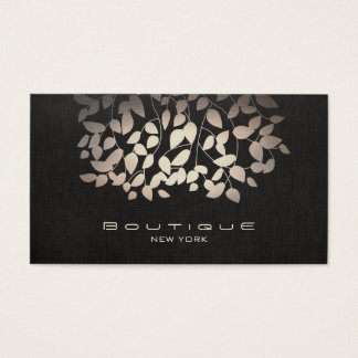 Elegant Faux Foil Leaves and Black Linen Business Card