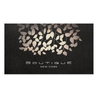 Elegant Faux Foil Leaves and Black Linen Pack Of Standard Business Cards