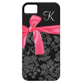 Elegant Faux Glitter Damask Girly Hot Pink Bow iPhone 5 Case