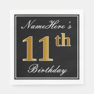 Elegant, Faux Gold 11th Birthday + Custom Name Paper Napkins
