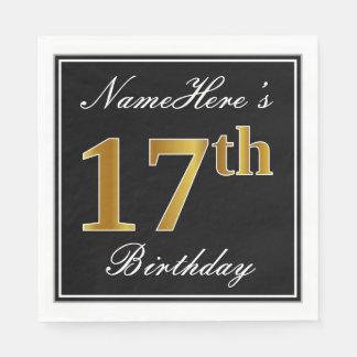 Elegant, Faux Gold 17th Birthday + Custom Name Disposable Napkin