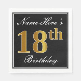 Elegant, Faux Gold 18th Birthday + Custom Name Disposable Napkins