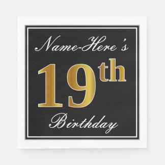 Elegant, Faux Gold 19th Birthday + Custom Name Disposable Napkin