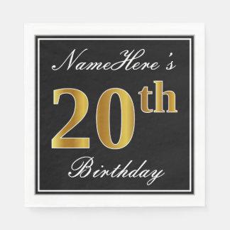 Elegant, Faux Gold 20th Birthday + Custom Name Disposable Napkins