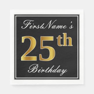Elegant, Faux Gold 25th Birthday + Custom Name Disposable Napkins