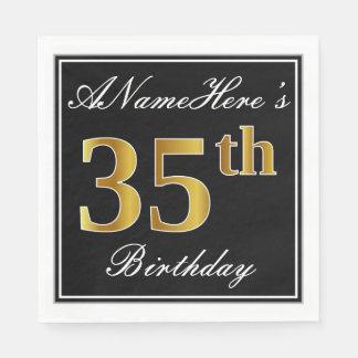Elegant, Faux Gold 35th Birthday + Custom Name Paper Napkins