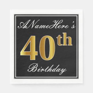 Elegant, Faux Gold 40th Birthday + Custom Name Paper Napkin